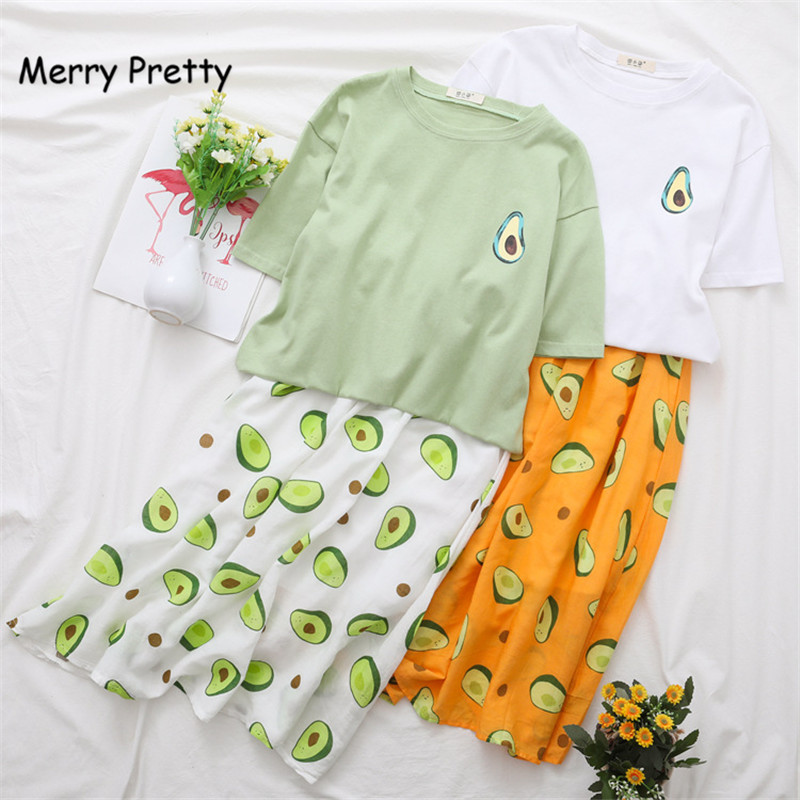 Merry Pretty 2019 Summer New 2 Piece Sets Woman Avocado Green Cotton T shirt A line Long Skirt Set Casual Women Clothing Sets in Women 39 s Sets from Women 39 s Clothing