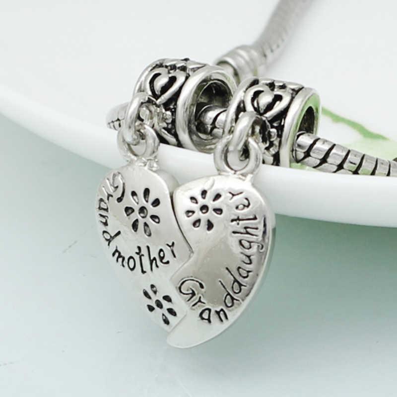 0af1d061f ... Slide charm free shipping DIY beads Grandfather grandmother heart pendant  charm beads fit Pandora bracelet necklace