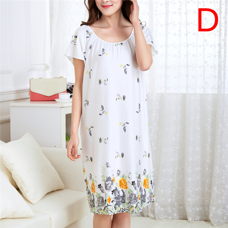 Women Summer Dress Long Cartoon Girls Nightwear Nightdress Cotton And Silk   Sleepshirt
