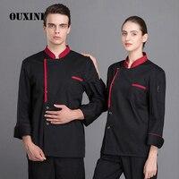 cooks clothing long sleeve professional head chef uniform restaurant hotel kitchen black chef jacket chef top