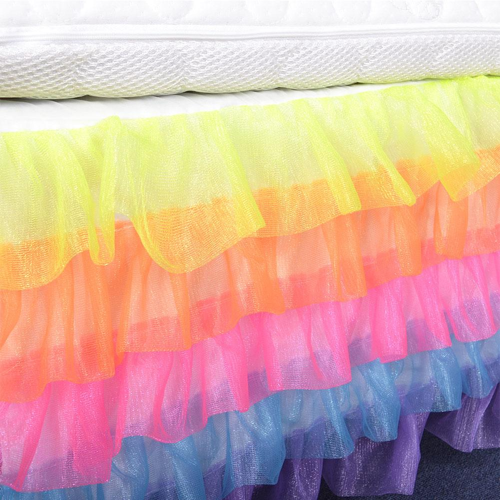 New rainbow color chiffon baby bed skirt birthday party wall net ...