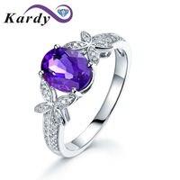 Для женщин природных Мода Фиолетовый аметист драгоценный Обручение свадебное белое золото 14 К diamond Bands RING SET для Для женщин