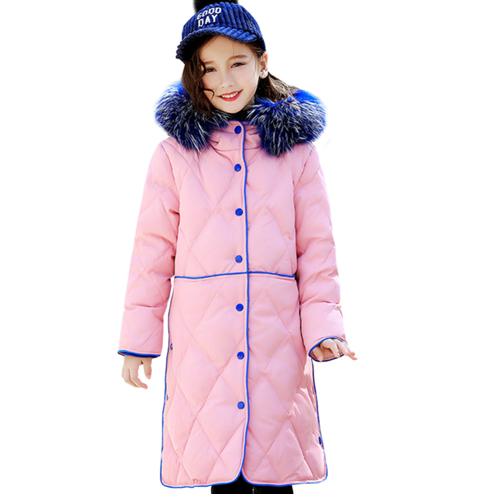 Childrens Down Jacket Long Hooded Fur Collar Single-breasted Pocket Loose Girls Winter Down Coat OuterwearChildrens Down Jacket Long Hooded Fur Collar Single-breasted Pocket Loose Girls Winter Down Coat Outerwear