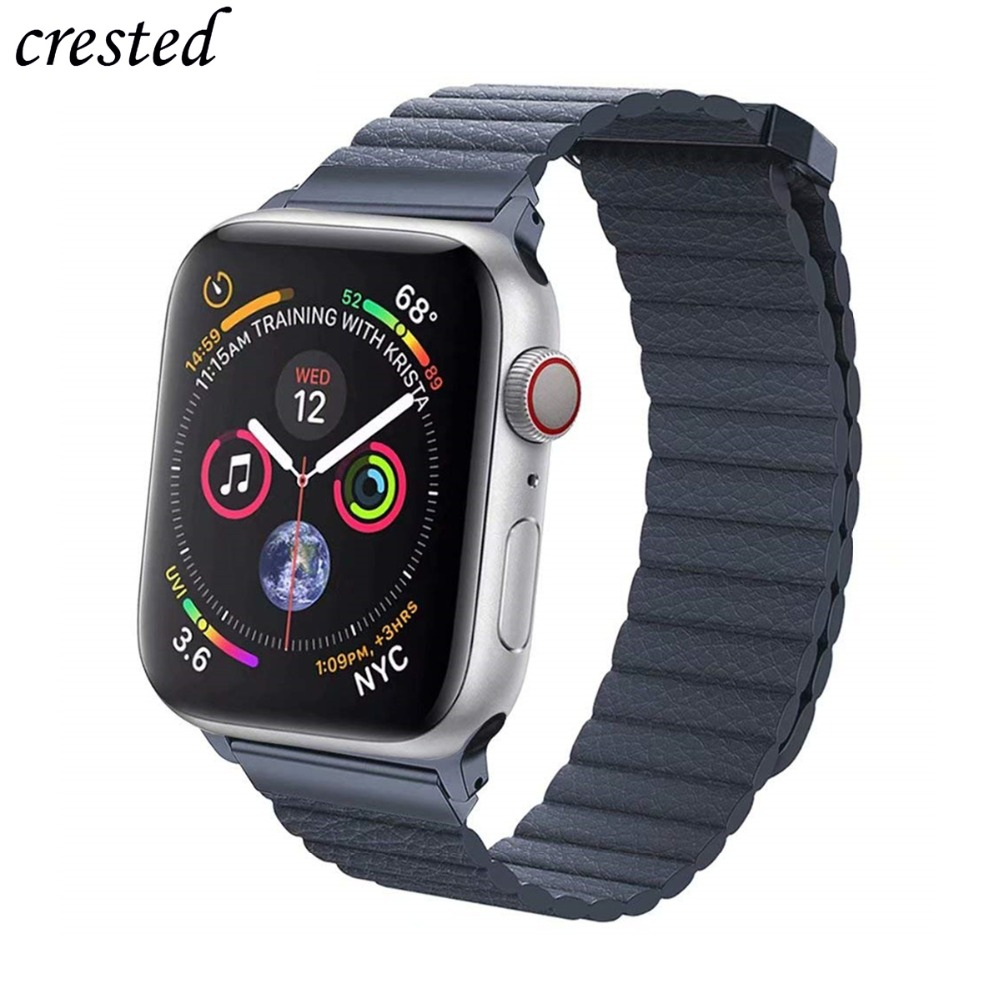 Leather Strap For Apple Watch Leather Loop band iWatch 3 2 1 42mm/38mm Magnetic bracelet Watchband for Apple watch 4 44mm 40mm Leather Strap For Apple Watch Leather Loop band iWatch 3 2 1 42mm/38mm Magnetic bracelet Watchband for Apple watch 4 44mm 40mm