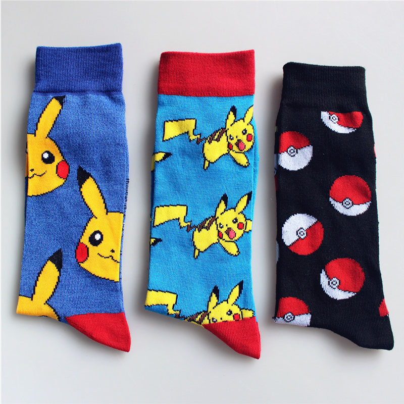 Color Point Elf Ball Pokemon ball Men Women Long Cotton Socks Happy Pikachu Jacquard Cartoon Mens High Quality Socks EUR38-44