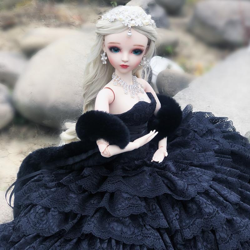 BJD 60CM Elegant Doll Black Wedding Dress BJD Doll With Make Up Handmade Beauty Toys Gift
