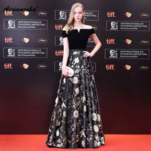 Black Boat-Neck Floor-Length Embroidery A-line Slevessless Gloden Appliques Pattern Customized Fashionable New Arrival 2018