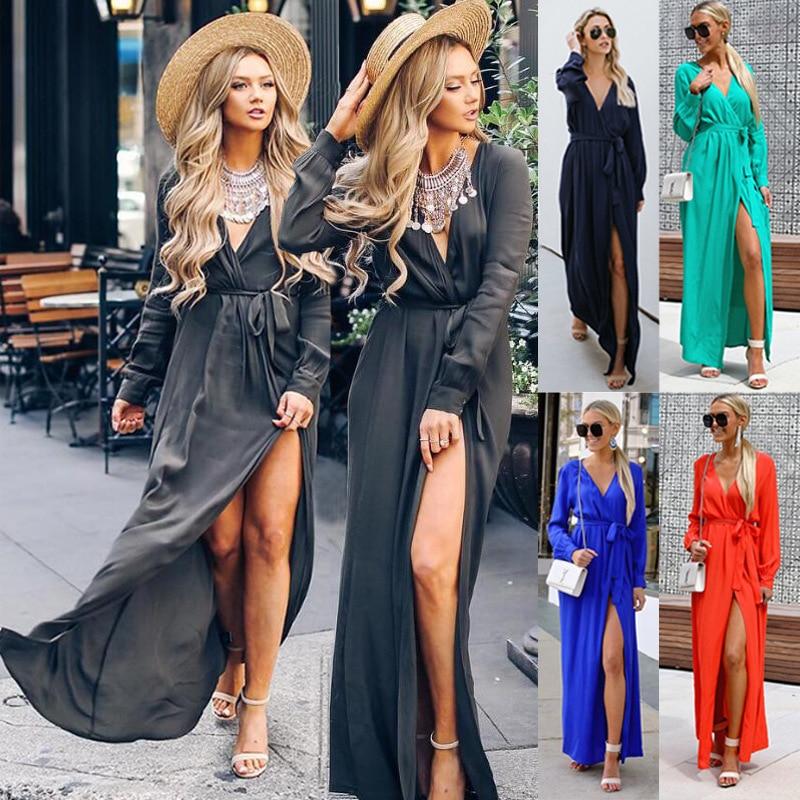 Sexy long sleeve autumn summer dress women Wine red lace up maxi dress Elegant party dresses female high waist vestidos femme