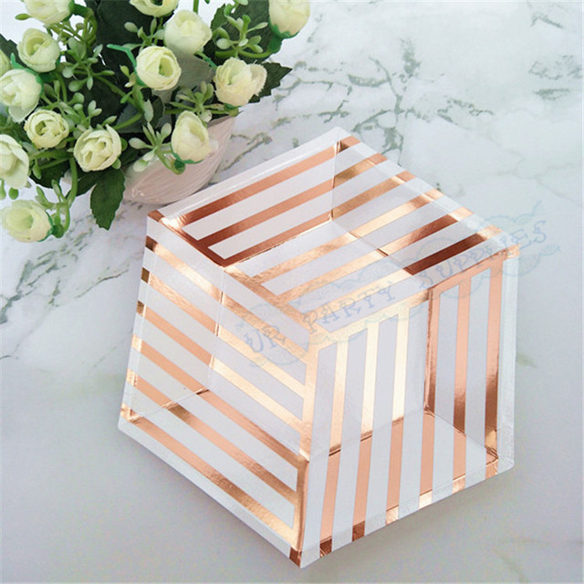 80pcs rose gold dessert plates rose gold paper plates modern hexagon design bridal shower cake table