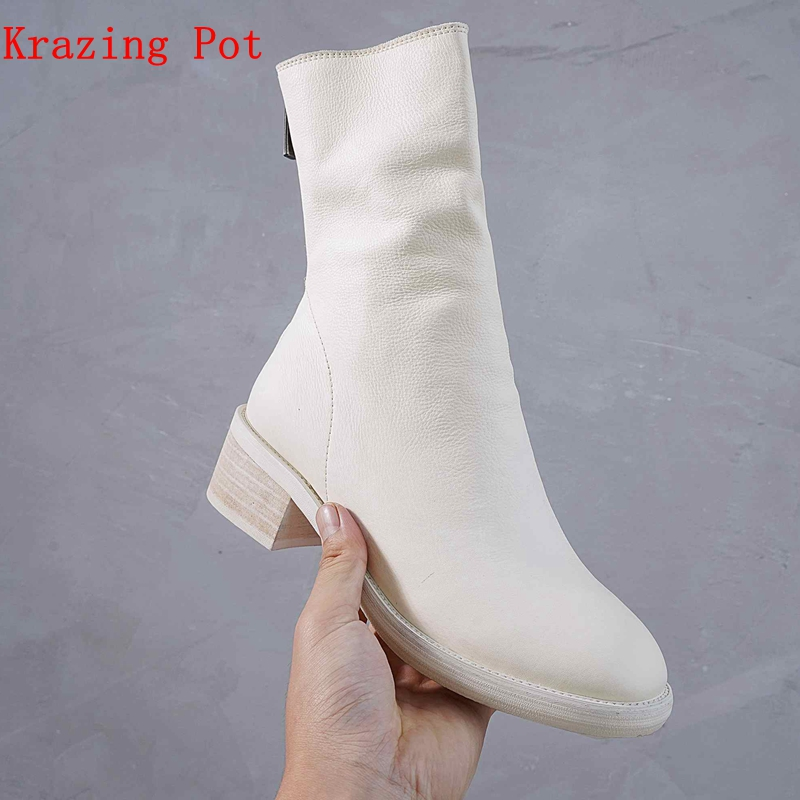 Krazing Pot new full grain leather zipper fold decoration ankle boots high quality low heel European round toe Chelsea boots L52 high quality full grain leather and pu mixed colors boots size 40 41 42 43 44 zipper design lace up decoration round toe boots