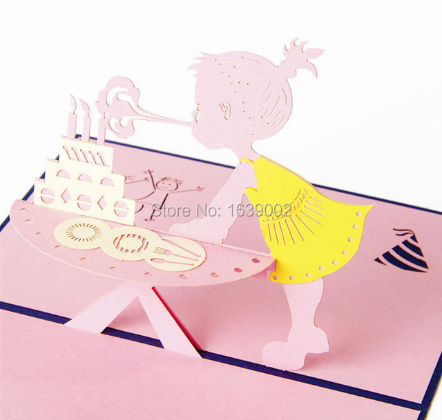 Creative Little Girl Blowing Candles Happy Birthday 3d Card 20pcs