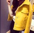 Высокое Качество Женщина Пальто 2016 Мода Весна Шерстяное Пальто Куртки Короткие Тонкий Дизайн Дамы Кашемира Пальто Желтые Тропические mujer