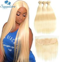 Сапфир натуральная волос 613 светлые волосы с Накладные волосы Малайзии волосы прямые 3 Связки с Накладные волосы Человеческие волосы Ткань