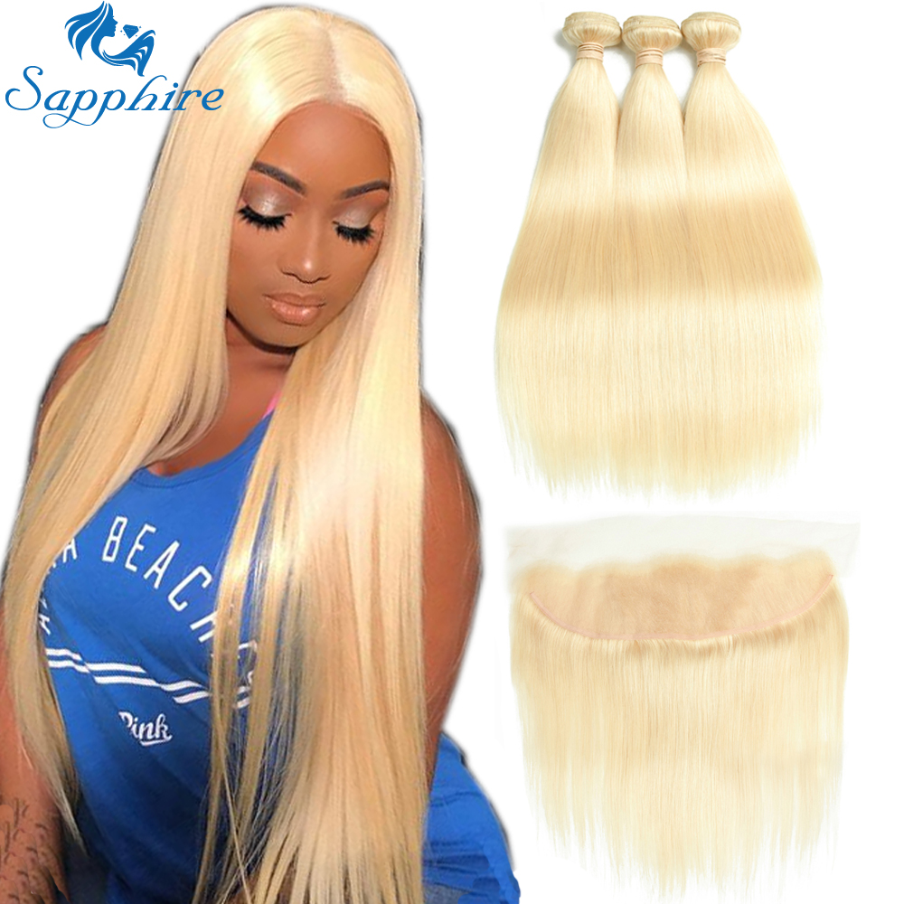Sapphire Brazilian Hair Weave Bundles 613 Blonde Bundles With Frontal 613 Straight Human Hair Bundles With Closure 13*4 Frontal