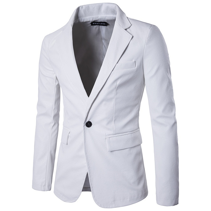 2019 New Men Fashion High Quality PU Leather Suit