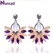 6 Colors For Women Dangle Earrings Bijoux Luxury Starburst Pendant Colorful Crystal Dangle Gem Statement Earrings Jewelry