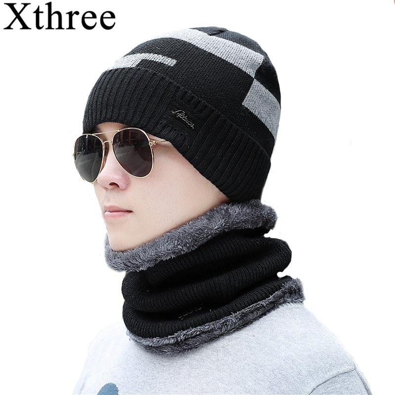 Xthree Winter Men's   Skullies     Beanies   Hat Scarf Set Knitted Hat Cap Male Gorra Bonnet Warm Winter Hats For Men Women   Beanies   Hats