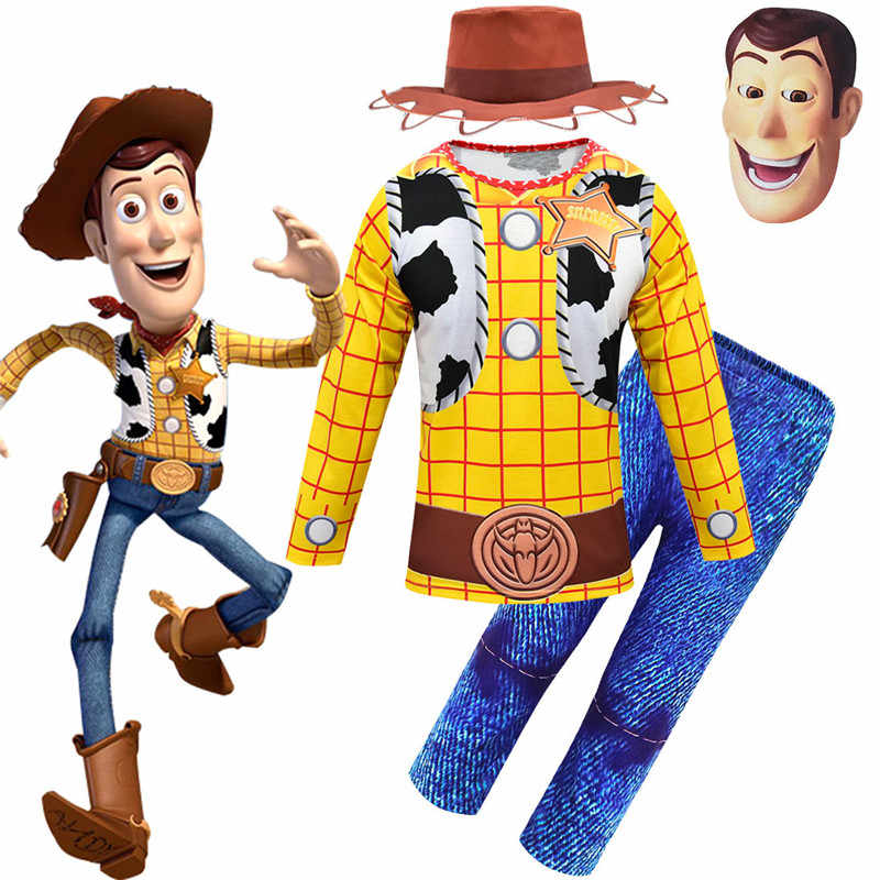 Woody Costume Toy Story 4 Cosplay Kids long sleeve+long pant+hat+mask Sets boys Halloween Party Costume