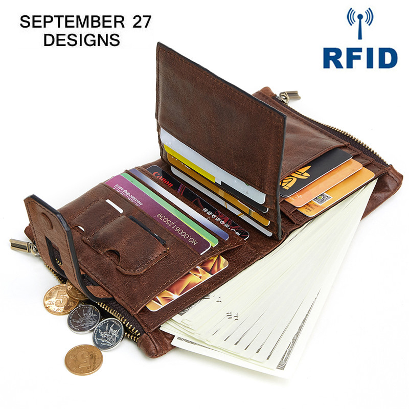 Men Women Leather Bifold Long Wallet Cowboy Clutch Bag Purse Card Photo Holder
