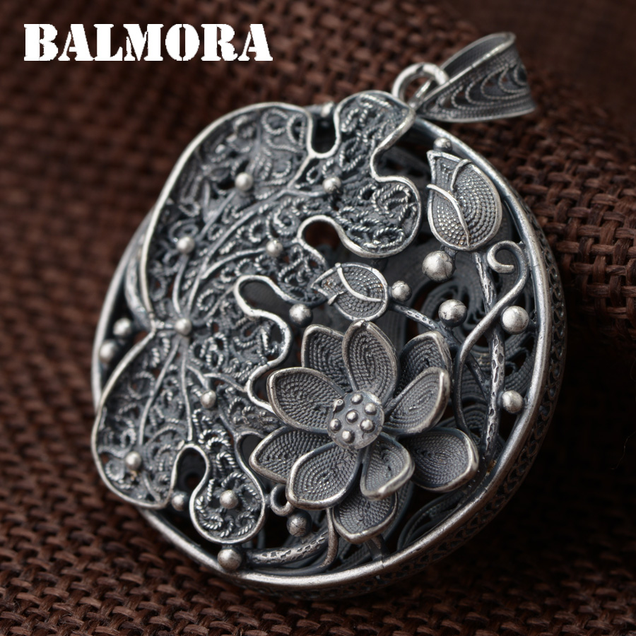 BALMORA 990 Pure Silver Vintage Flower Hollow Pendants for Women Lover Necklace Accessories Jewelry Gift Without a Chain SY13507