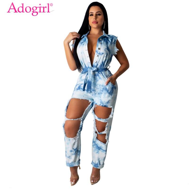 Adogirl Tie Dye Print Jeans Jumpsuit Buttons Turn Down Collar Sleeveless Holes Denim Pants Romper Loose Overalls Streetwear