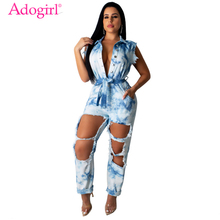 Adogirl Tie Dye Print Jeans Jumpsuit Buttons Turn Down Collar Sleeveless Holes Denim Pants Romper Loose Overalls Streetwear