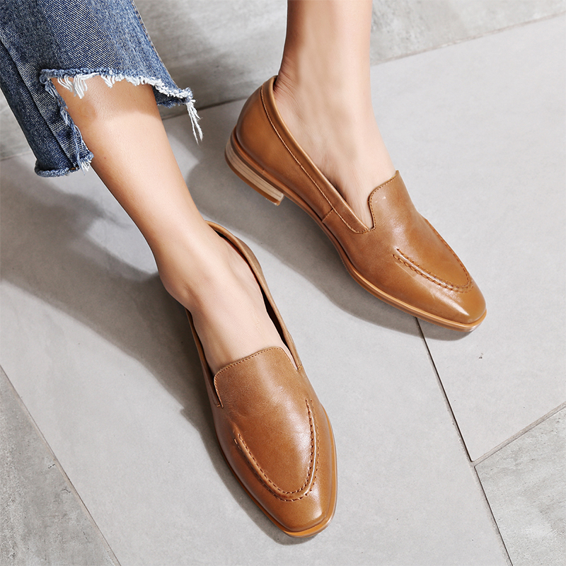 WETKISS New Arrival Genuine Leather Women Flats Slip On Square Toe Sewing Footwear Spring Fashion Casual Ladies Loafer Shoes
