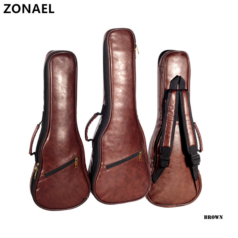 ZONAEL 2123 Ukulele Bag Backpack Case Gig Bag Guitar Case High-grade Leather Waterproof Bag Parts For Hawaii Small Guitar