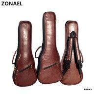 ZONAEL 21 23 Ukulele Bag Backpack Case Gig Bag Guitar Case High Grade Leather Waterproof Bag