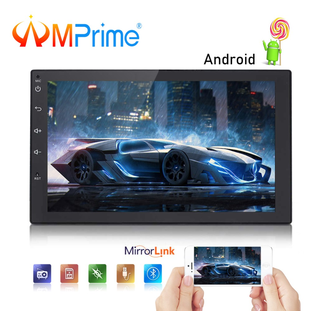 AMPrime Android 2 Din Voiture Radio 7 GPS Navigation Autoradio Wifi USB Mirrorlink Audio Multimédia Lecteur GPS BT DVR voiture Stéréo