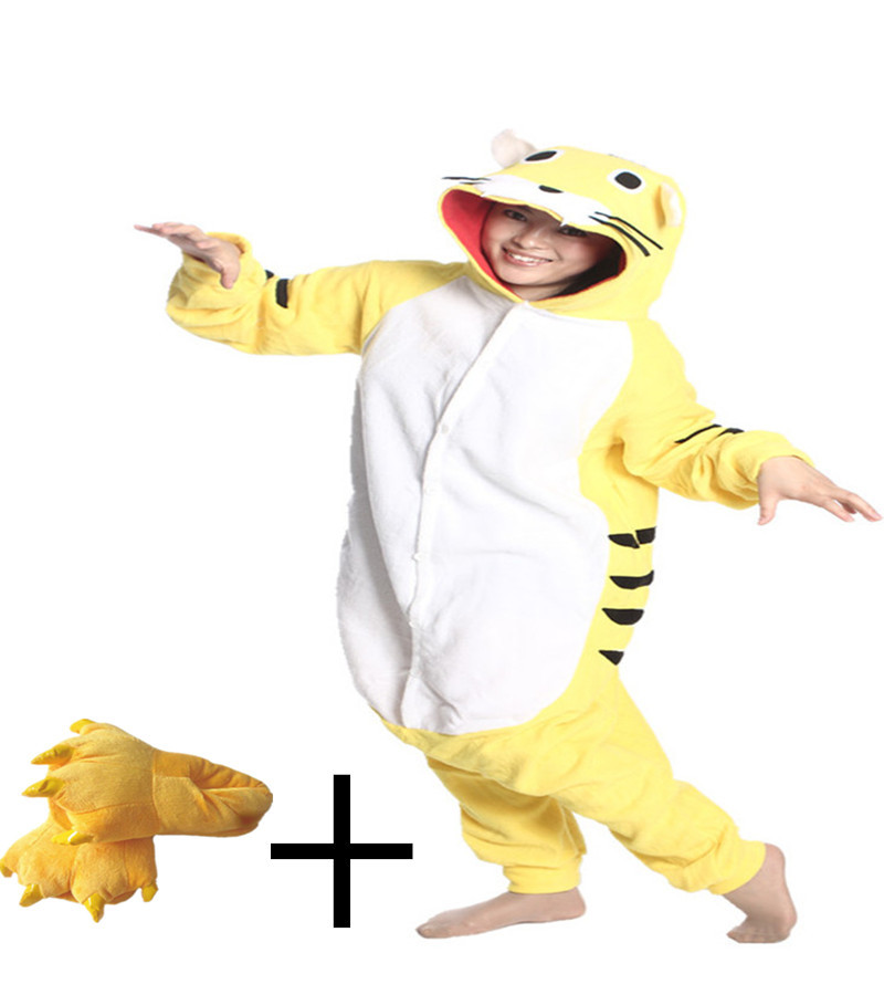 Funny Animal Yellow Tiger Sleepsuit Costume Homewear Lounge Wear Onesie Pajamas Regular Round Neck Solid Casual Slipper