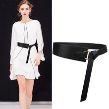 Wide knotted belt female black new design windbreaker belts
