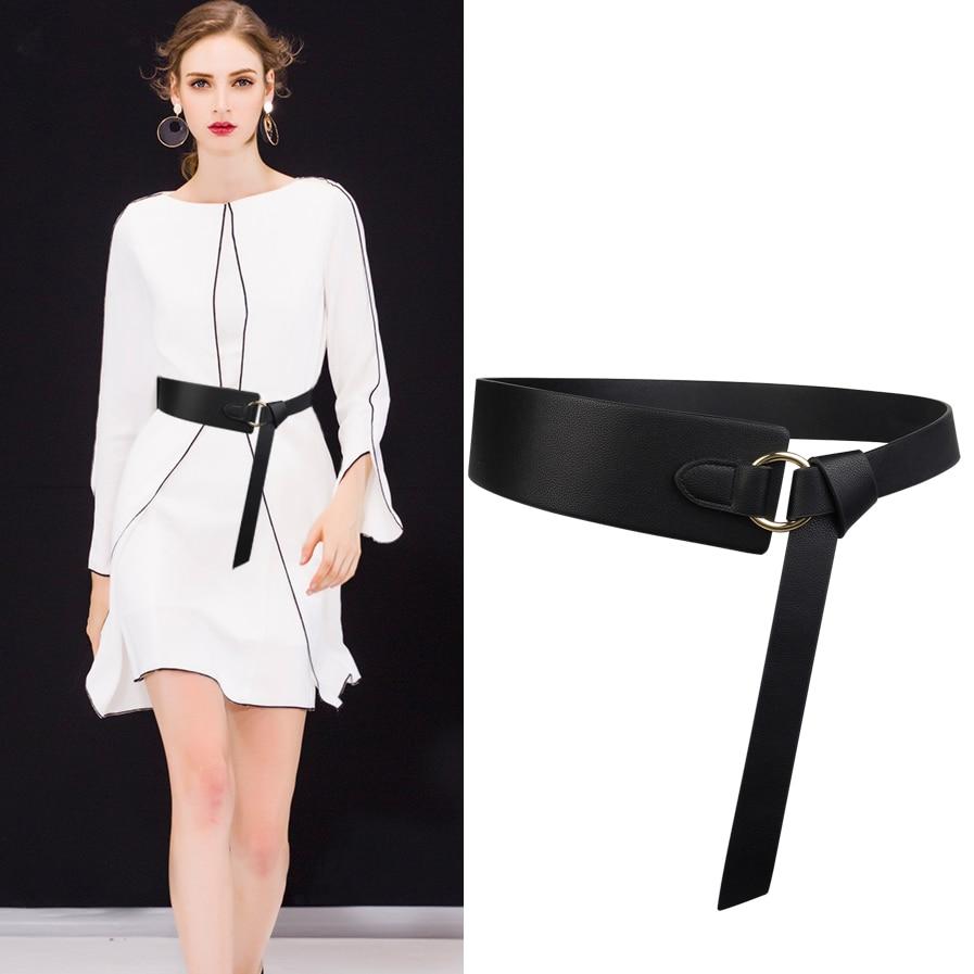 Wide knotted   belt   female black new design windbreaker   belts   brown PU leather waistbands simple wild   belt   waist tide cummerbunds