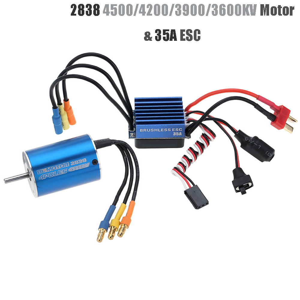 2838 3600KV 4500KV 4P Sensorless Brushless Motor & 35A Brushless ESC Electronic Speed Controller For 1/14 1/16 1/18 RC Car