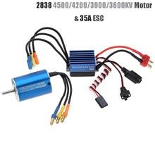 цена на 2838 3600KV 4500KV 4P Sensorless Brushless Motor & 35A Brushless ESC Electronic Speed Controller for 1/14 1/16 1/18 RC Car