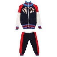 2018 Runway Vintage Knitted 2 Piece Set Fashion Color Block Bow Stripes Zipper Jacket Long Harem Pants Suit Casual Women's Suit