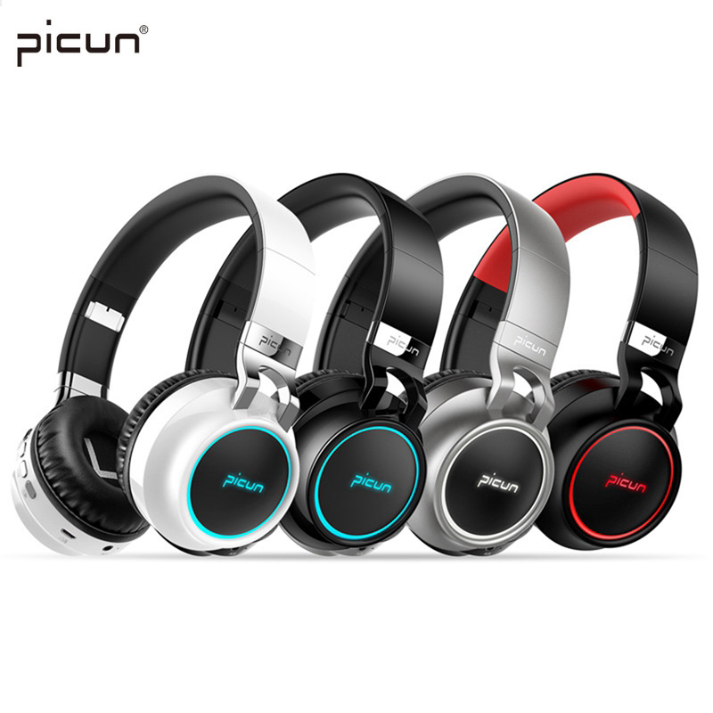 Picun p60 Wireless Gaming Headset Bluetooth Headphones Support 7 colors Glowing Headphone with Mic for Running for Phone PC MP3 ...