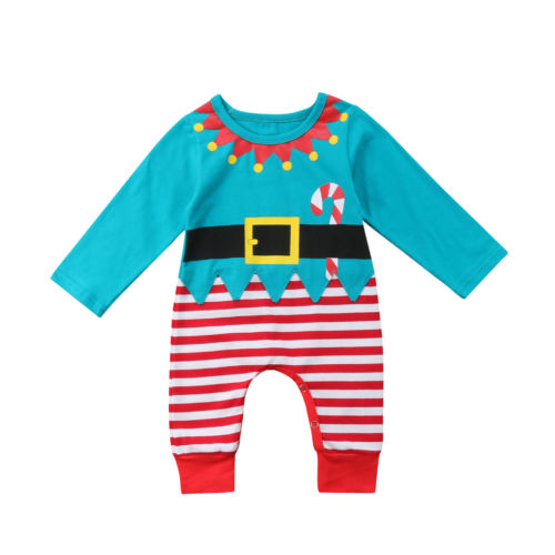 Newborn Infant Baby Kids Girls Boys Christmas   Romper   Long Sleeve Jumpsuit Outfits Clothes