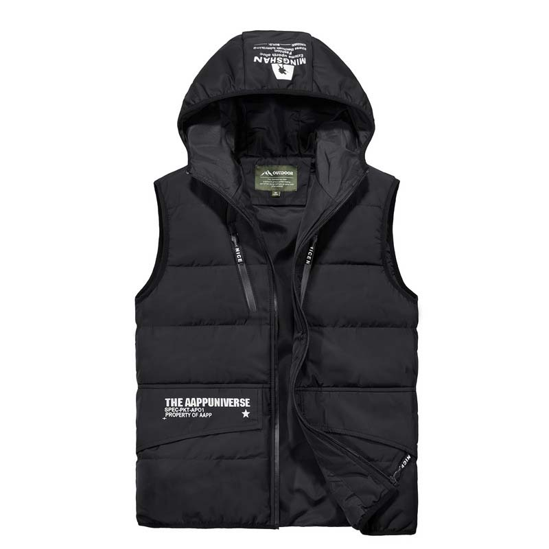 Otoño invierno cálido chaleco con capucha hombres prendas de vestir chaleco Casual chaqueta sin mangas abrigo Chaleco de poliéster ropa masculina - 5