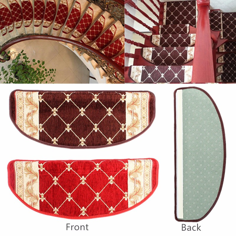Upscale European style Stair Carpet Sets Slip Resistance Stair Tread Mats Step Rug Brown Red living room mats