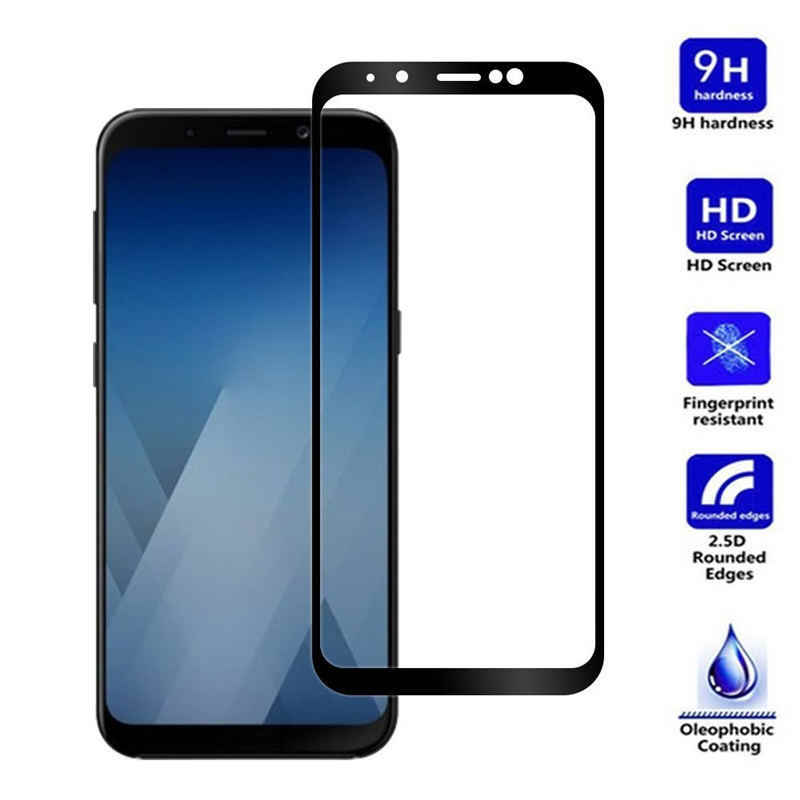 Full Cover Colored Tempered Glass For Samsung Galaxy A6 A8 Plus J4 J6 J8 2018 A3 A5 A7 2017 Screen Protectors For Samsung Series