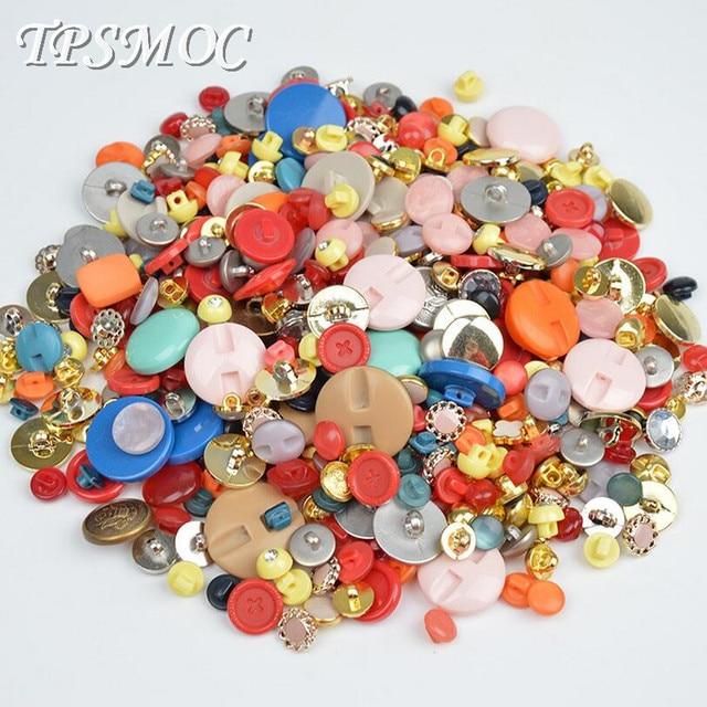 TPSMOC 50g מגוון מעורבים ילדים פלסטיק בשילוב סגנון תפירת כפתור עבור קרפט רעיונות אביזרים