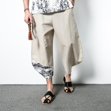 M-5XL!!!Chinese style linen capris male plus size loose casua harem pants national trend fluid men's clothing