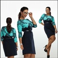 Foreign trade explosion models wild European and American fashion printing waist was thin large size dress