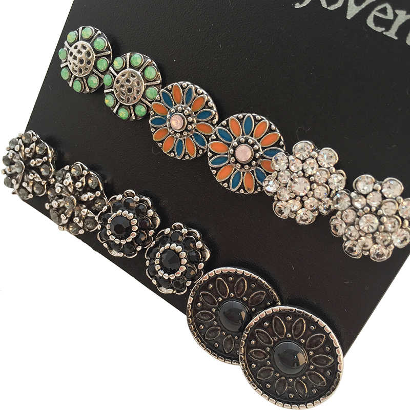 Marte&Joven 6 Pairs Assorted Multiple Vintage Earring and Rhinestone Big Stud Earrings Set for Women Mix Round Flower Ear Studs