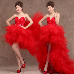 100 real photos 2016 new arrival short front long back feathers red white wedding dress bridal.jpg 250x250