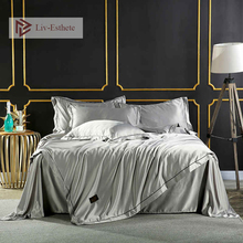 Liv-Esthete 100% Silk Silver Gray Luxury Bedding Set Double Queen King Duvet Cover Pillowcase Bedspread Bed Linens Home Textiles