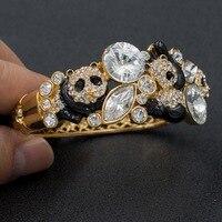 High Quality Real Austrian Rhinestone Crystals Panda Bracelets Bangles Cuff Women Jewelry Clearance Sale