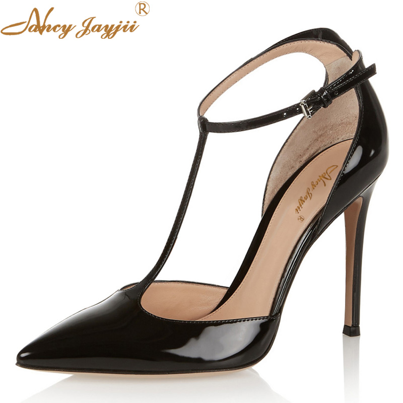 2017 Womens Black Leather Pointed Toe T-Strap 10cm High Heels Pumps Casual Party Dress Shoes Woman Plus Size 4-16 Nancyjayjii soft leather real womens pumps summer style high heels custom made plus size pointed toe ladies party shoes fashion party shoes