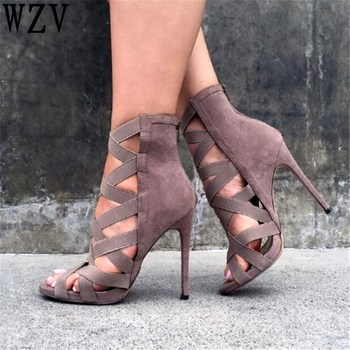 Big size 34-43  New 2019 Women Heeled Sandals stretchy Bandage Ankle Strap Pumps Super High Heels stiletto Heels Lady Shoes